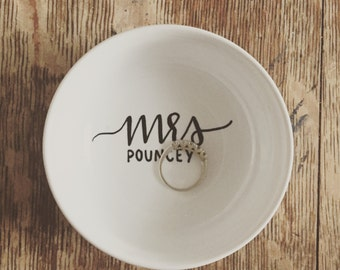 custom name ring dish - engagement present