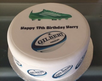 Rugby Boot and Ball edible Icing, Frosting, Fondant cake topper, cupcake toppers &/Or edible ribbon for Birthday Cake