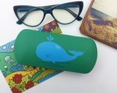 eyeglass cases hard -  box for glasses -  glasses case hard - Hand-painted -  spectacle case -  sunglass cases whale
