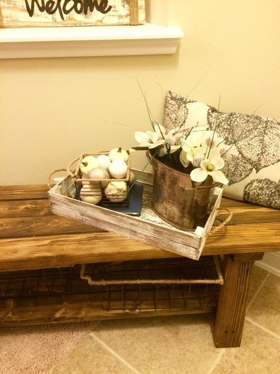 Items similar to distressed white decorative tray rustic tray decor coffee table tray Decorative trays for coffee table