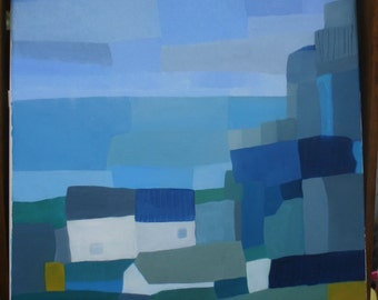 """Original Abstract Seascape Oil Painting, 16"""" x 16"""" canvas, blues and aquas. """" Cottages by the Sea"""""""