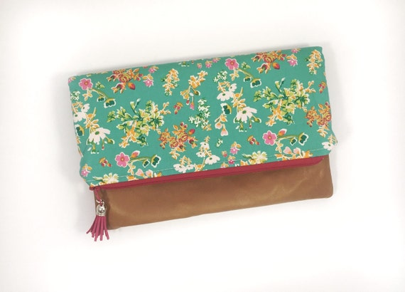 Floral Fold Over Clutch with Camel Leather, zipper clutch, Floral clutch, Teal and pink handbag, Roses, Flowers, Leather pouch