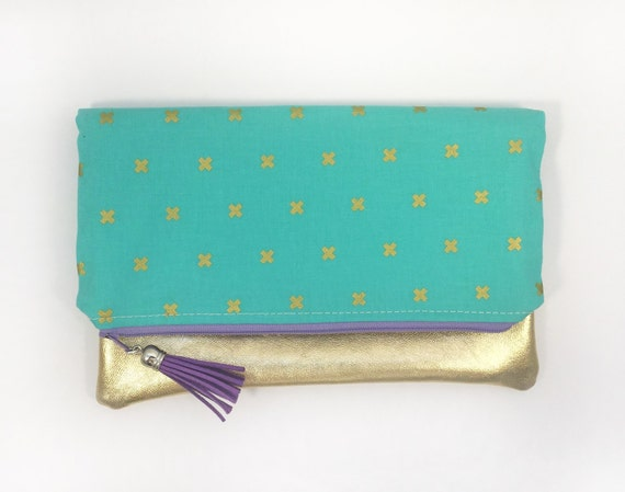Cotton + Steel Teal Blue and Gold Cross Fold Over Clutch with a Gold Leather Accent