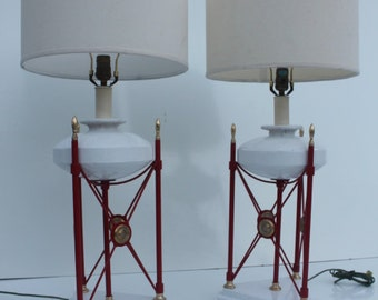 Italian Vintage Tessellate Stone Table Lamps - A Pair.