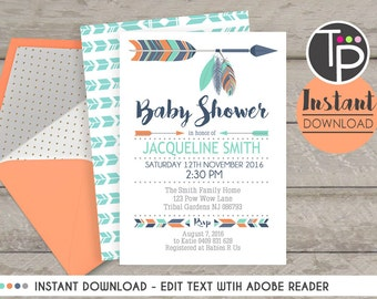 TRIBAL BABY SHOWER Invitation, Instant download, Navy Orange Teal Tribal Baby Shower Invitation, Tribal Feather Invitation, Pow Wow, 0100