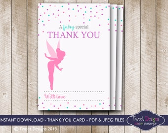 FAIRY THANK YOU Card, Instant Confetti Fairy Thank you Card, Fairy Thank you Card, Confetti Thank you Card, Instant Download Thank you Card