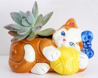 Josef Originals Cat Planter, Cat Planter, Vintage Cat Planter, vintage planter