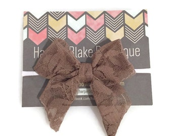 Brown Floral Lace Tailed Fabric Bow