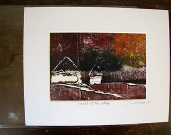Original Sunset Printwork, Cottage Artwork, Monotype, Landscape, Sunset art, Home Decor, Nature Artwork