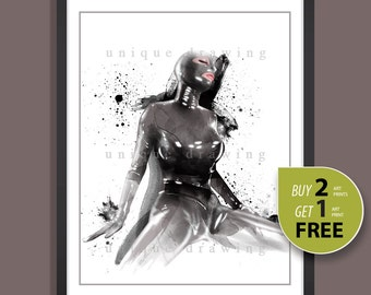 Mature, Fetish art, Female wear rubber, Erotic art, fetish painting, Naked woman painting, gift for man, bedroon wall art, wall print, 3252