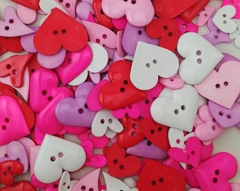 Heart shaped buttons, mixed colours