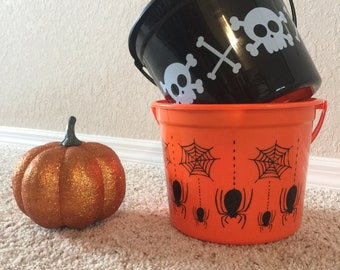 Personalized Halloween Trick or Treat Candy Bucket- Orange- Black- Spiders or Crossbones and Skulls- You Pick Name and Font