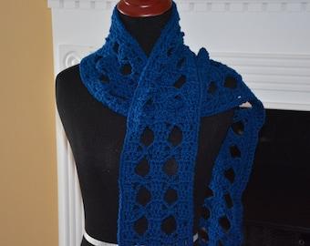 Classic Blue Crochet Scarf