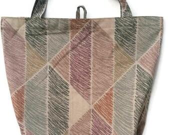 Reusable Shopping Bag Tote Bag | Tan with Geometric Scribbles  | Repurposed Fabric | Cloth Market Grocery Bag