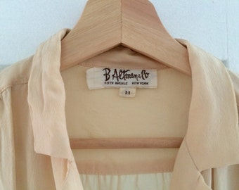 Cream 3/4 silk blouse