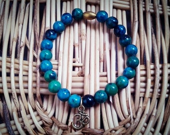 8 mm Azurite Chrysocolia beads with Ohm charm and Oval  Brass Bead, Beadwork