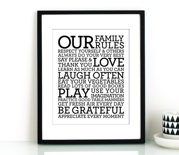 Our Family Rules Sign PRINTABLEfamily By TheCrownPrints On