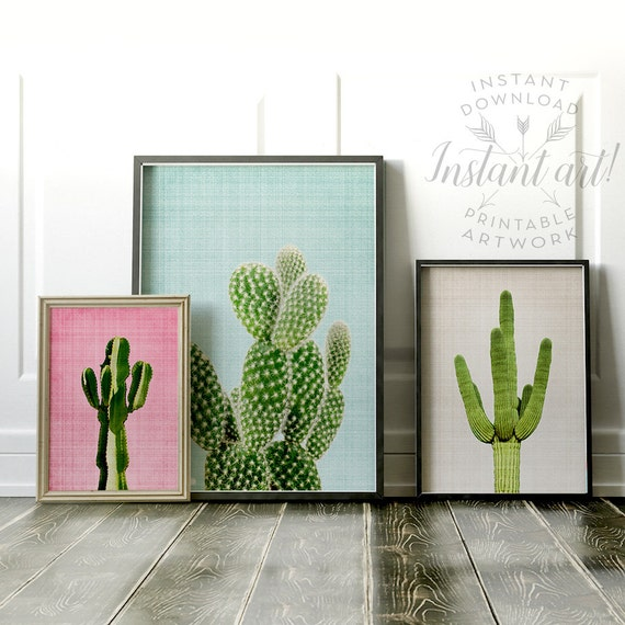Cactus print, Wall art prints, PRINTABLE art set, Modern art, Minimalist art, Abstract print, Southwestern decor, Gallery wall, Cacti prints