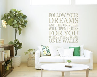 Follow Your Bliss And The Univers Will Wall Quote - Lounge Quotes - Home Wall Decor - Room Decor - Living Room Decals - LQ6