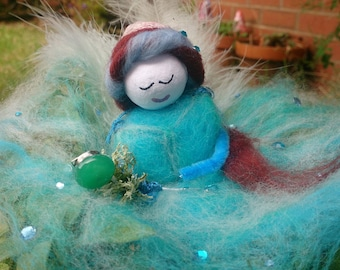 Beautiful, soft merino wool Fairy.  Christalle.  Hand crafted wool felt fairy