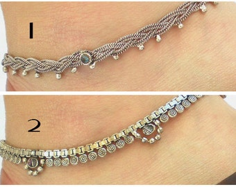 Silver Anklet, Tribal Jewelry, Gypsy Anklet, Boho Anklet, Barefoot Jewelry, Foot Jewelry, Tribal Anklet, Ankle Cuffs