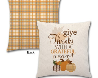 Give Thanks with a Grateful Heart - Fall Check, 18x18 Pillow, #2018-2096
