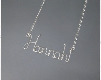 Hannah Wire Word Name Pendant Necklace