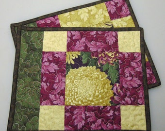 Handmade Quilted Snack Mats, Mug Rugs, Set of 2, Placemats, Candle Mat, Reversible, Butterfly Garden Fabric