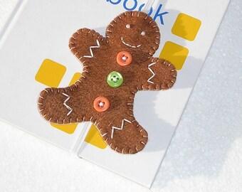 Gingerbread Man Bookmark, Felt ornament, christmas ornament, cute felt bookmark, handmade bookmark, embroidery, teacher gift, booklover gift