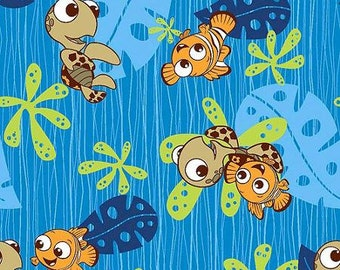 "Disney Nemo Nemo and Squirt Toss Fleece, Blue, 59/60"" Wide, Fabric By The Yard"