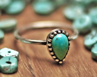 turquoise ring , stacking ring, cute ring, stone ring, birth stone, thin silver ring, stack ring, silver ring,tear drop ring