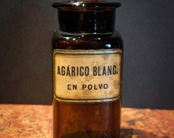 Antique Glass Pharmacy Bottle from Argentina