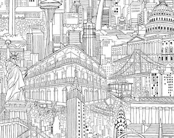 "Paintbrush Studios Fabric  ""Cityscape""  by Judy Hensen -One Yard Cut.  New york fabric, seattle fabric. Building fabric"