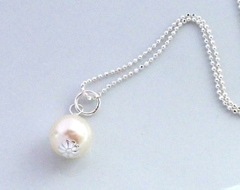 Solitaire Pearl Necklace Bridal Necklace