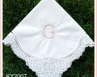 Wedding Handkerchief-Monogram Lace Hankerchief-EMBROIDERY hankies-Bridesmaid hankies-Wedding favors-Wedding Gifts-Ladies Keepsake-Canada