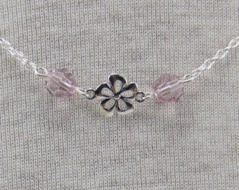 Cute sterling silver daisy necklace with amethyst Swarovski crystals [N38]
