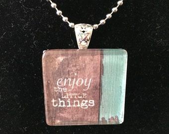 Handmade glass tile pendant