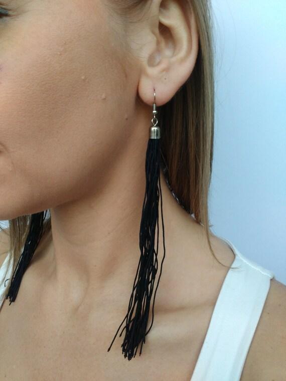 Tassel Earrings Black Earrings Fringe Tassel Boho Earrings Boho Jewelery Dangle earrings Rope  Long Earrings Bohemian
