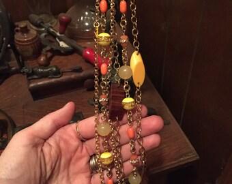 Yellow Gold Orange beaded necklces