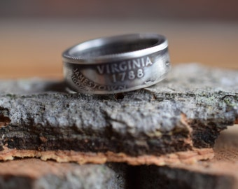 Coin Ring - US Size 7.25 - 2001 US 25 Cents - Virginia