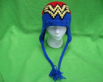 Pattern Only!- Wonder Woman Hat with Ear Flaps and Braids (Knitted)