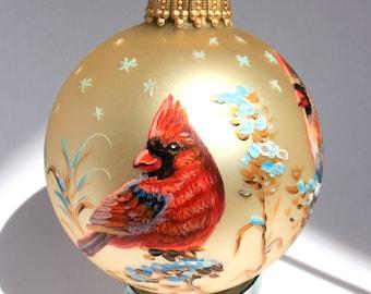 Hand painted Christmas Glass ornament Northern cardinal
