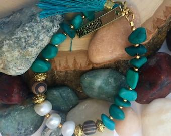 Turquoise Stone and Freshwater Pearl Tassel Bracelet