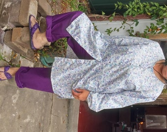 Purple pants- Small Floral Tunic