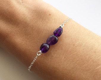 AMETHYST BRACELET - Sterling Silver Purple Gemstone Chain Bracelet - Handmade Semiprecious Stackable Bracelet
