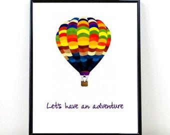 Printable Wall Art, Hot Air Balloon, Let's Have an Adventure, Nursery Art, Instant Download, Nursery Wall Print, Modern Wall Art, Wall Decor