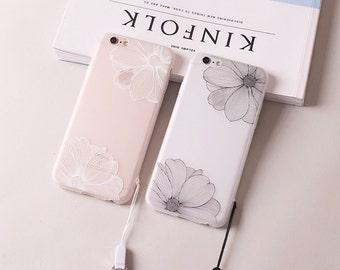 Apple iphone 7 iPhone 7 plus Case White Flowers Black Flowers iphone 6/6s case iphone 6 /6s plus case