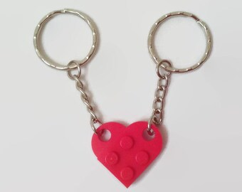 Lego Valentine Gift Wedding Favor Heart Key Rings Chain Choose Colour