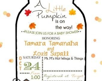 Mason jar Pumpkin baby shower invitation (digital file pdf)