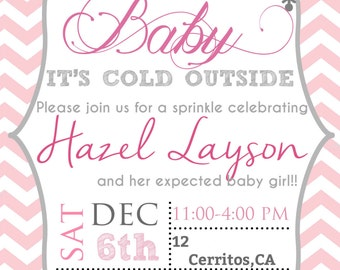 Baby it's cold outside baby shower invitation (digital file)